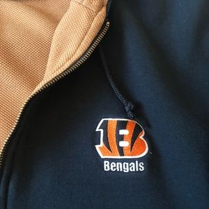 Dunbrook hooded black Cincinnati Bengals jacket.